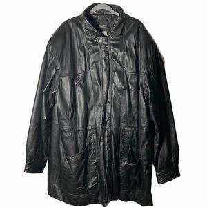VTG Wilson's Black Leather Longline Coat 2XLT